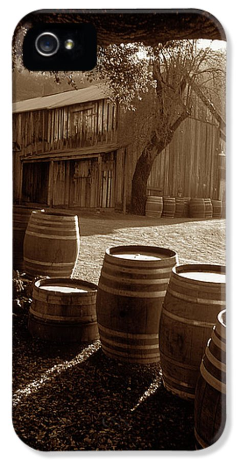 Old Barns IPhone 5 Case featuring the photograph Barn And Wine Barrels 2 by Kathy Yates