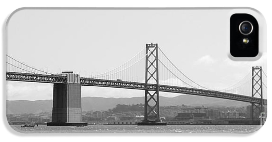 San Francisco IPhone 5 Case featuring the photograph Bay Bridge In Black And White by Carol Groenen