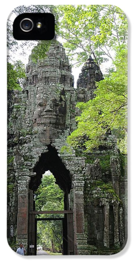 Cambodia IPhone 5 Case featuring the photograph Bayon Gate by Marion Galt