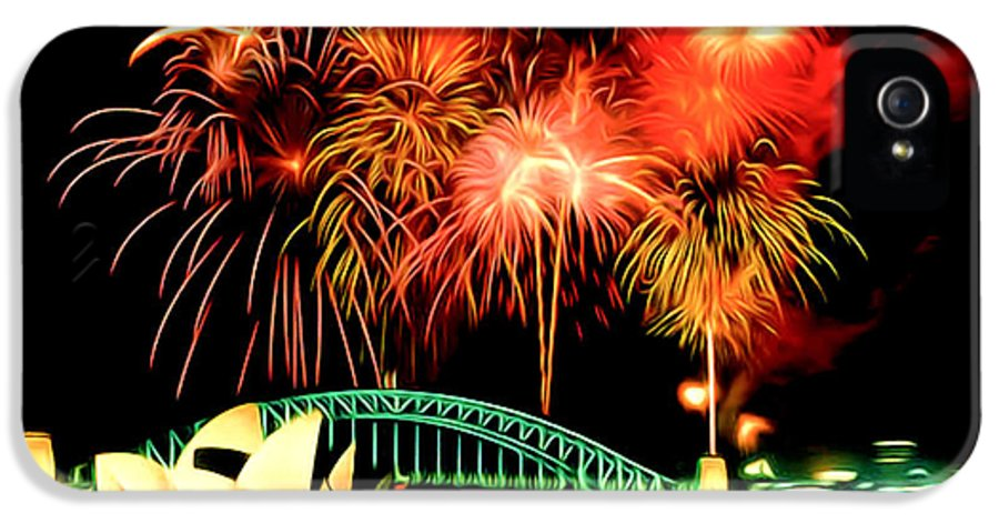 Beautiful Colorful Holiday Fireworks IPhone 5 Case featuring the painting Beautiful Colorful Holiday Fireworks 2 by Lanjee Chee