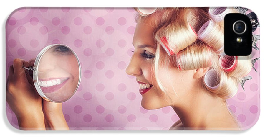 1950s IPhone 5 Case featuring the photograph Beautiful Model With Fresh Makeup And Hairstyle by Jorgo Photography - Wall Art Gallery