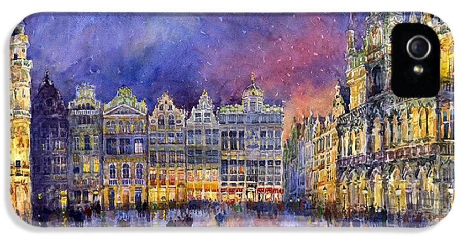 Watercolour IPhone 5 Case featuring the painting Belgium Brussel Grand Place Grote Markt by Yuriy Shevchuk