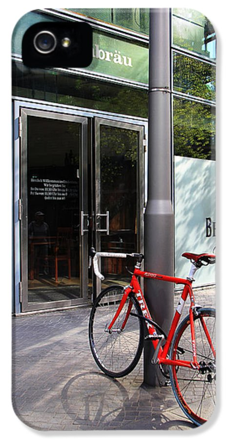 Berlin IPhone 5 / 5s Case featuring the photograph Berlin Street View With Red Bike by Ben and Raisa Gertsberg