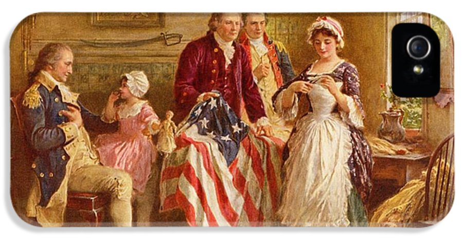 Betsy Ross IPhone 5 Case featuring the painting Betsy Ross 1777 by Jean Leon Gerome Ferris