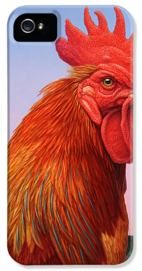 Rooster IPhone 5 Case featuring the painting Big Red Rooster by James W Johnson