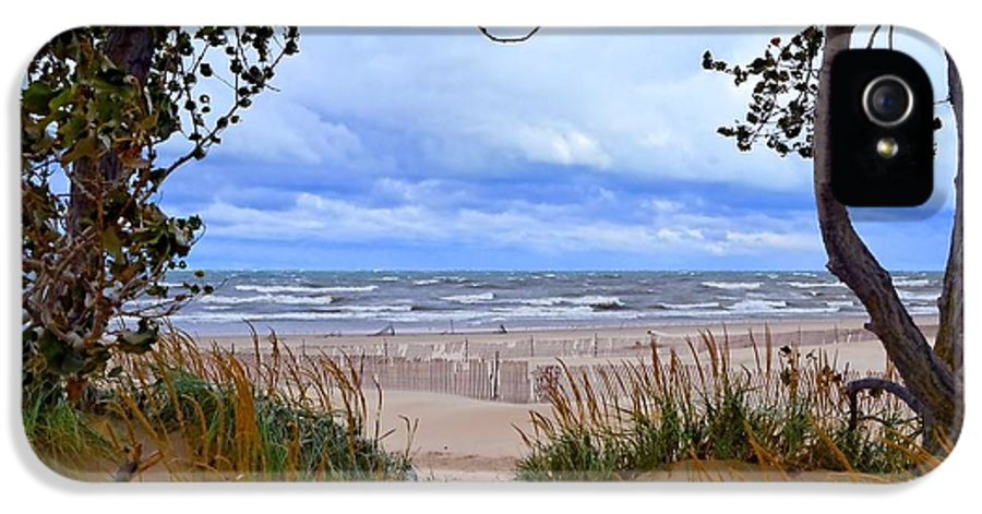 Trees IPhone 5 Case featuring the photograph Big Waves On Lake Michigan 2.0 by Michelle Calkins