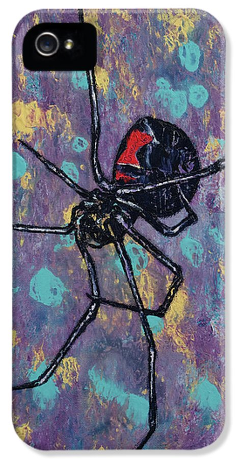 Abstract IPhone 5 Case featuring the painting Black Widow by Michael Creese