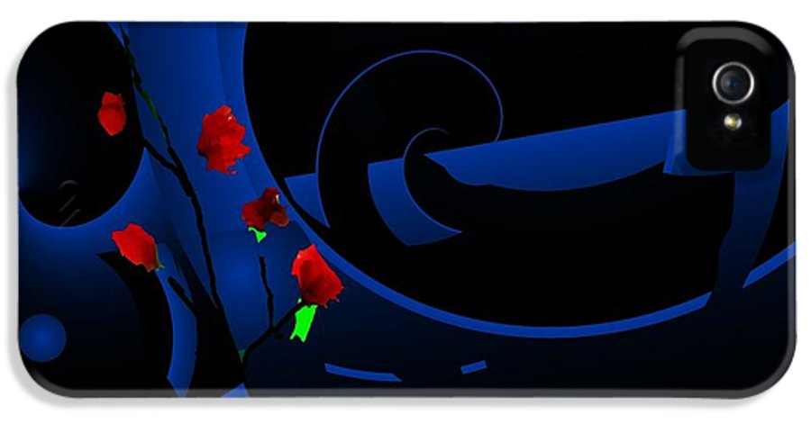 Abstract IPhone 5 Case featuring the digital art Blue Abstract by David Lane