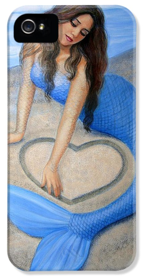 Mermaid IPhone 5 Case featuring the painting Blue Mermaid's Heart by Sue Halstenberg