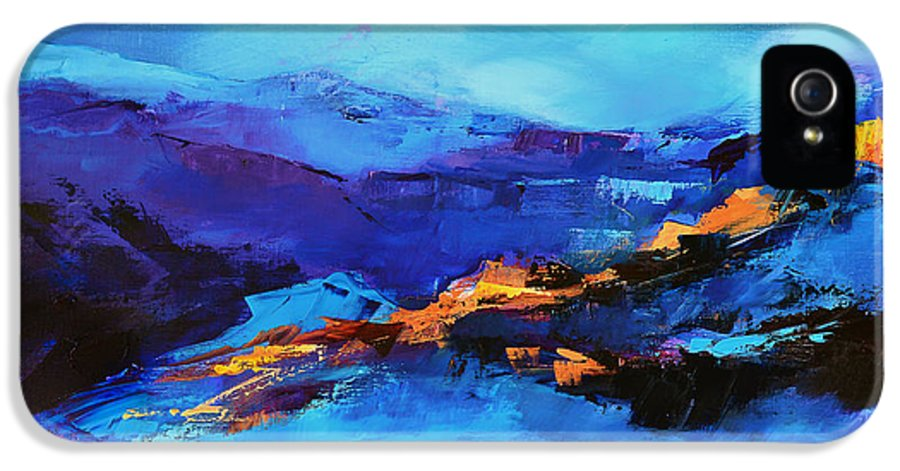 Grand Canyon IPhone 5 Case featuring the painting Blue Shades by Elise Palmigiani