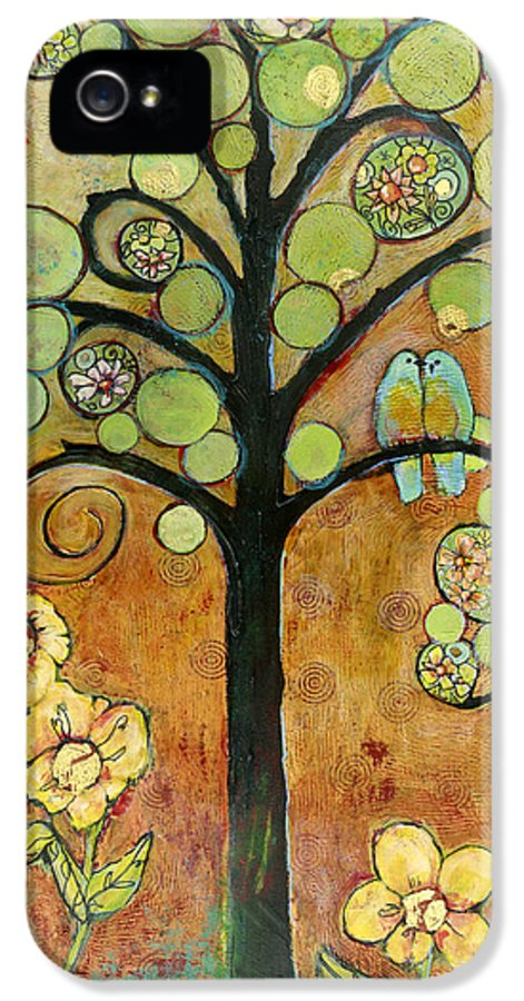 Tree IPhone 5 Case featuring the painting Bluebirds In Paradise Tree by Blenda Studio