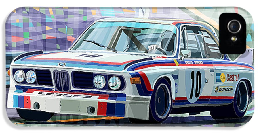 Automotive IPhone 5 Case featuring the digital art Bmw 3 0 Csl 1st Spa 24hrs 1973 Quester Hezemans by Yuriy Shevchuk