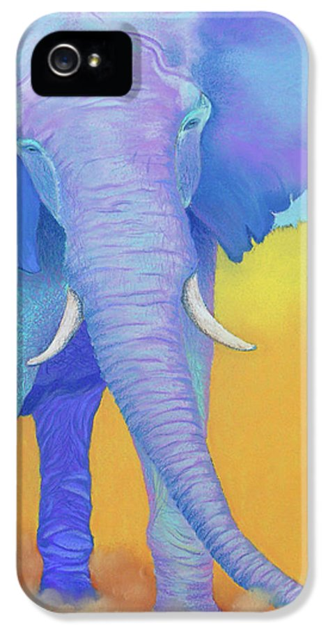 Elephant IPhone 5 Case featuring the pastel Born Of Wisdom by Tracy L Teeter
