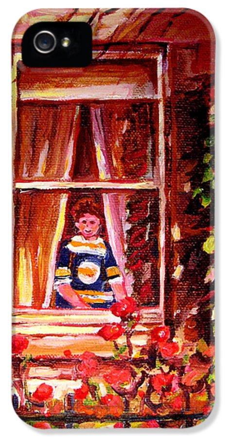 Boston Bruin Fan IPhone 5 Case featuring the painting Boston Bruin Fan by Carole Spandau