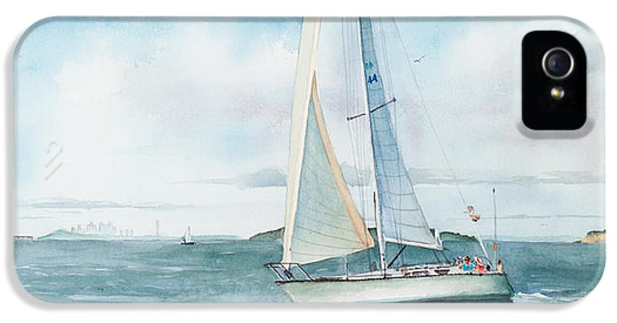 Seascape IPhone 5 Case featuring the painting Boston Harbor Islands by Laura Lee Zanghetti