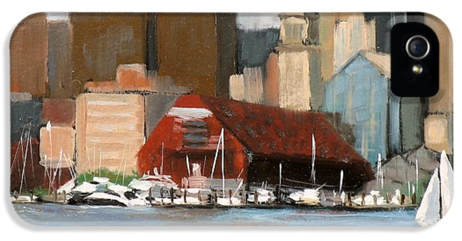 Seascape IPhone 5 Case featuring the painting Boston Harbor by Laura Lee Zanghetti