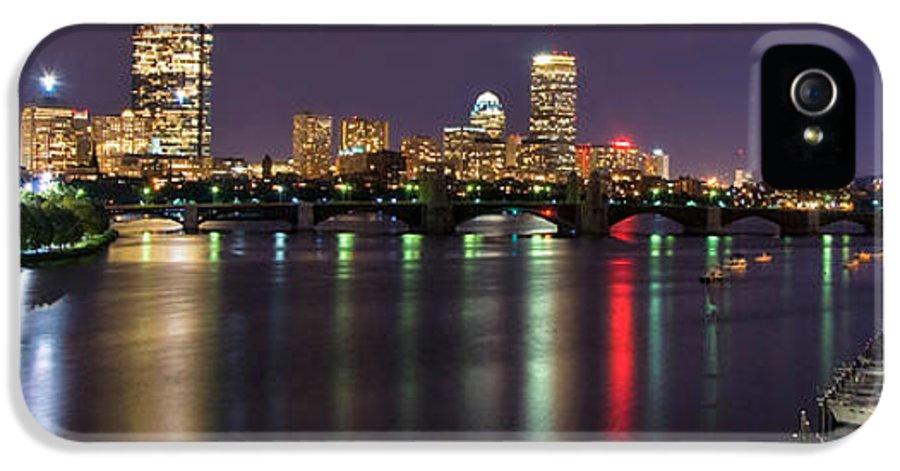 Boston IPhone 5 Case featuring the photograph Boston Harbor Nights-panorama by Joann Vitali