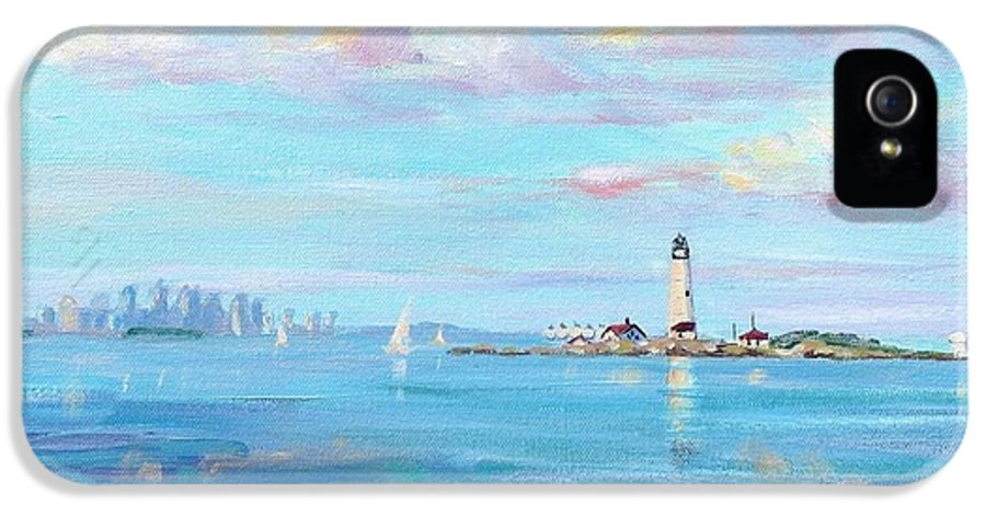 Seascape IPhone 5 Case featuring the painting Boston Skyline by Laura Lee Zanghetti