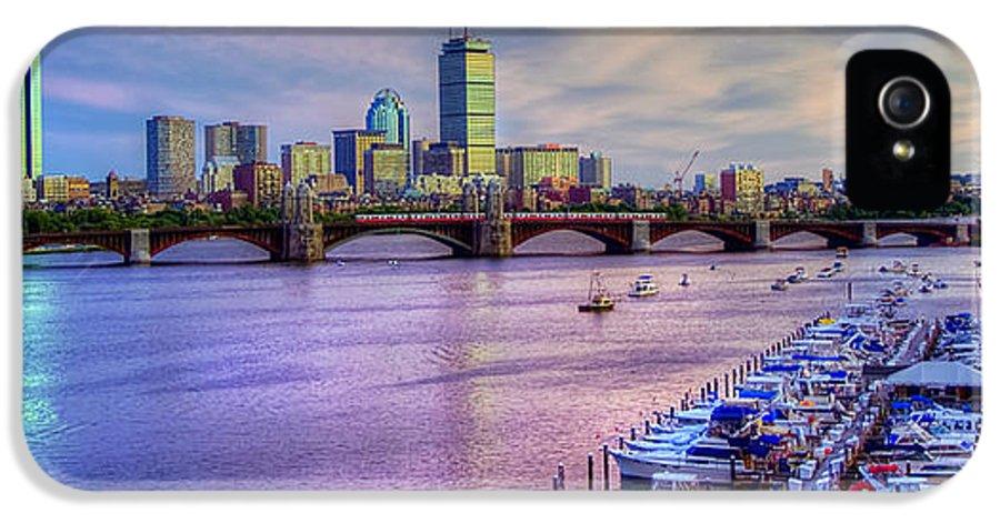 Boston IPhone 5 Case featuring the photograph Boston Skyline Sunset by Joann Vitali