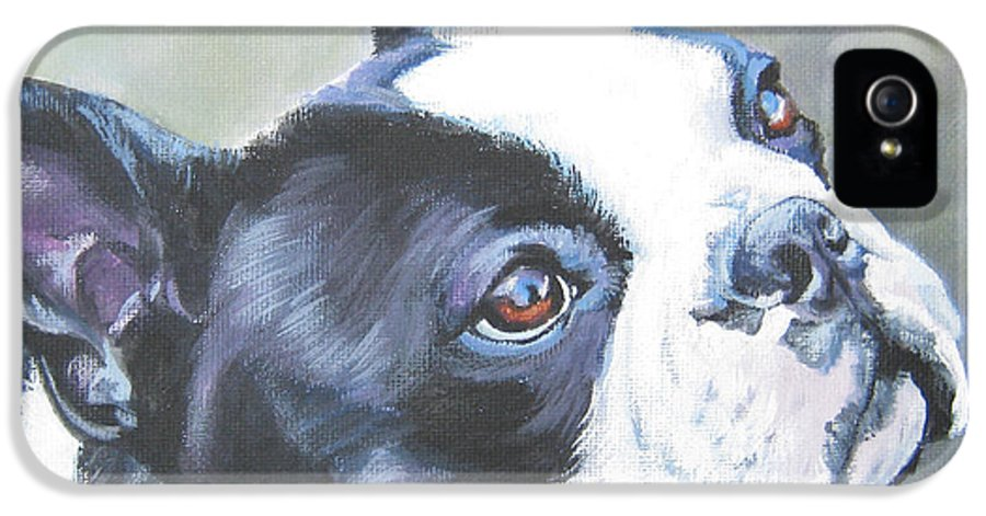 Boston Terrier IPhone 5 Case featuring the painting boston Terrier butterfly by Lee Ann Shepard