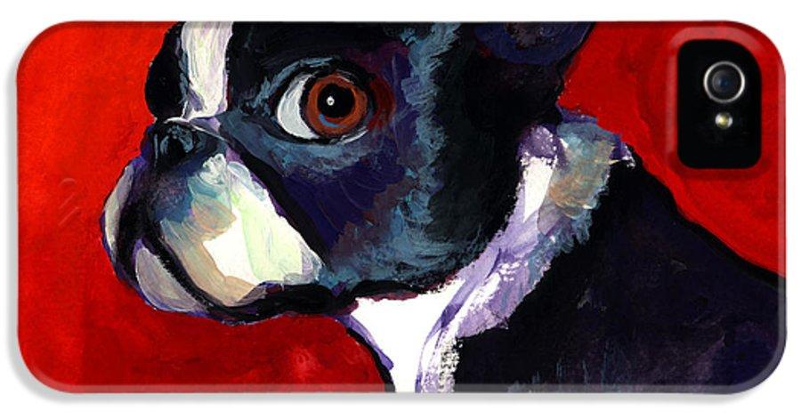 Boston Terrier IPhone 5 Case featuring the painting Boston Terrier Dog Portrait 2 by Svetlana Novikova