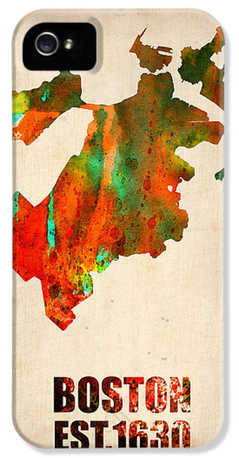 Boston IPhone 5 Case featuring the painting Boston Watercolor Map by Naxart Studio