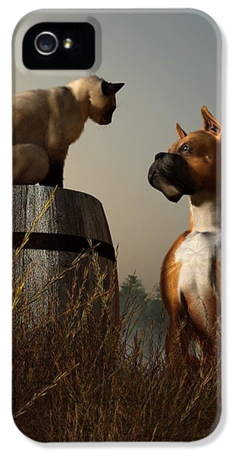 Dog IPhone 5 Case featuring the digital art Boxer And Siamese by Daniel Eskridge