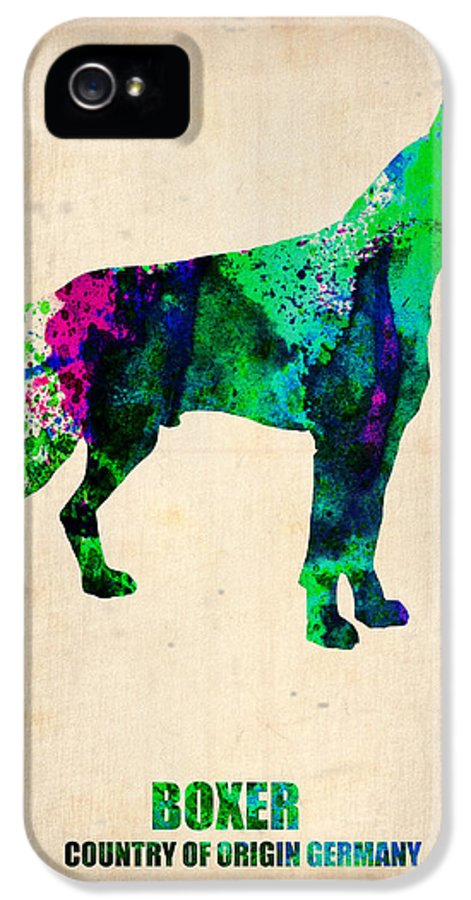 Boxer IPhone 5 Case featuring the painting Boxer Poster by Naxart Studio