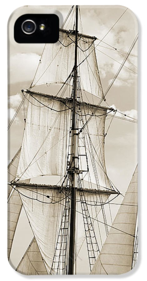 Brigantine IPhone 5 Case featuring the photograph Brigantine Tallship Fritha Sails And Rigging by Dustin K Ryan