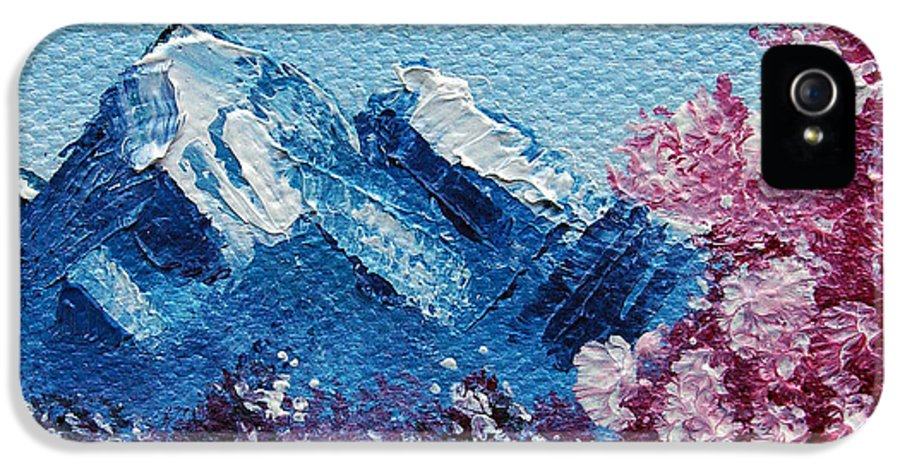 Wonderous IPhone 5 Case featuring the painting Bright Blue Mountains by Jera Sky