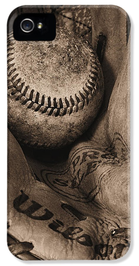 Baseball IPhone 5 Case featuring the photograph Broken In Bw by JC Findley