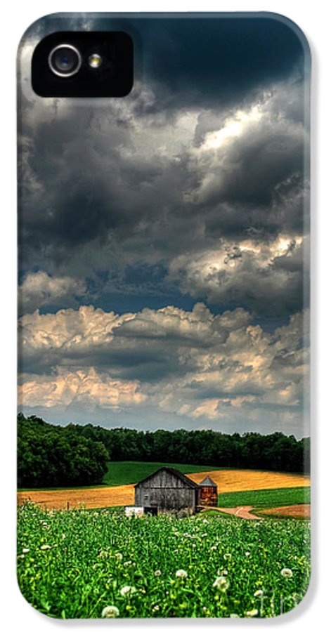 Old Barn IPhone 5 Case featuring the photograph Brooding Sky by Lois Bryan