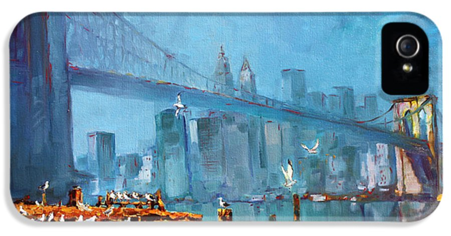 Landscape IPhone 5 Case featuring the painting Brooklyn Bridge by Ylli Haruni