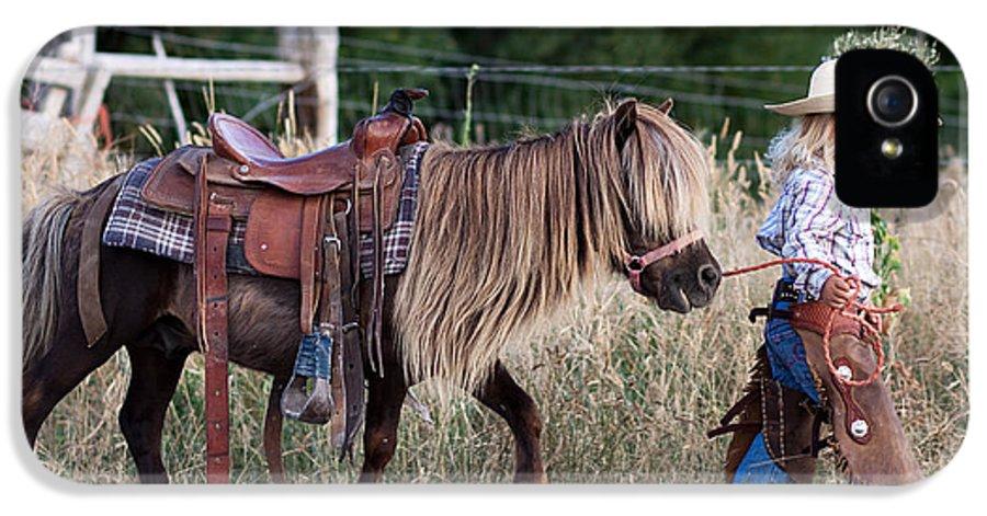 Horse IPhone 5 Case featuring the digital art Buckaroo Cowgirl by Cindy Singleton