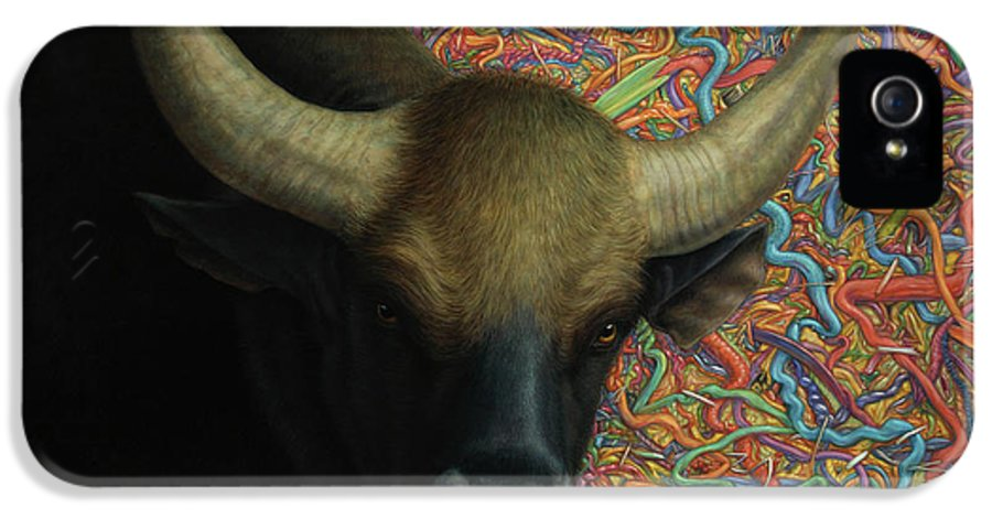 Bull IPhone 5 Case featuring the painting Bull In A Plastic Shop by James W Johnson