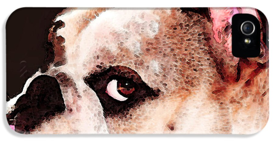 Dog IPhone 5 Case featuring the painting Bulldog Art - Let's Play by Sharon Cummings