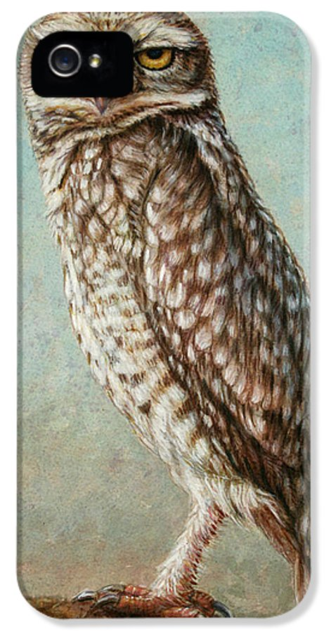 Owl IPhone 5 Case featuring the painting Burrowing Owl by James W Johnson