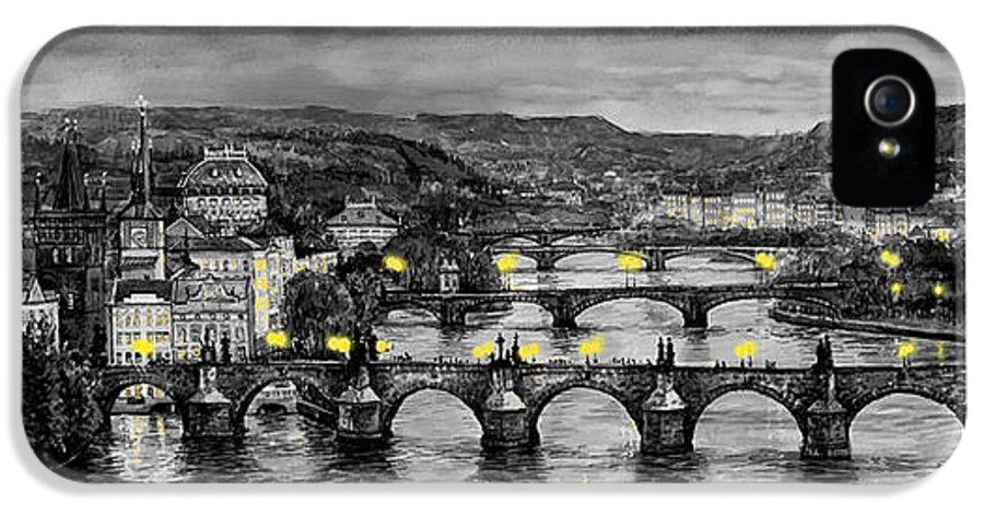 Prague IPhone 5 / 5s Case featuring the painting Bw Prague Bridges by Yuriy Shevchuk