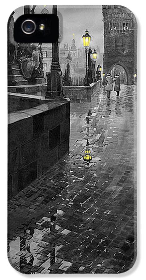 Prague IPhone 5 / 5s Case featuring the painting Bw Prague Charles Bridge 01 by Yuriy Shevchuk