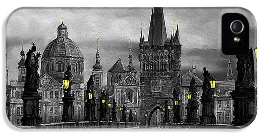 Prague IPhone 5 Case featuring the painting Bw Prague Charles Bridge 04 by Yuriy Shevchuk