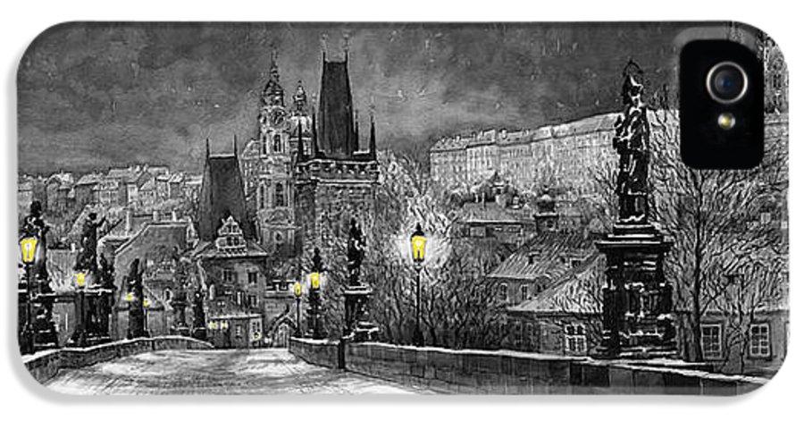 Prague IPhone 5 Case featuring the painting Bw Prague Charles Bridge 06 by Yuriy Shevchuk