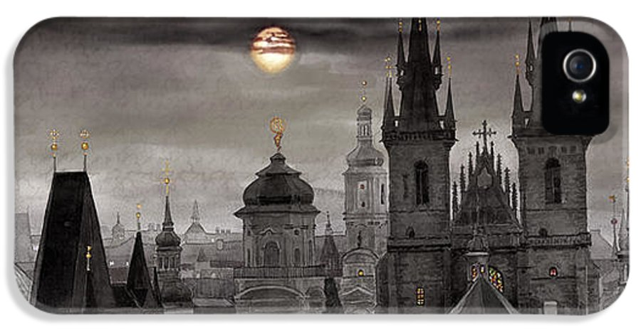 Cityscape IPhone 5 Case featuring the painting Bw Prague City Of Hundres Spiers by Yuriy Shevchuk
