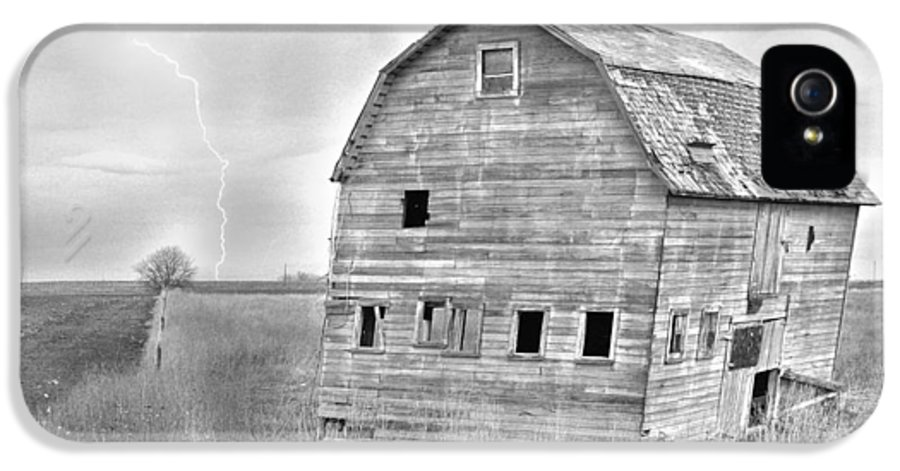 Barns IPhone 5 Case featuring the photograph Bw Rustic Barn Lightning Strike Fine Art Photo by James BO Insogna