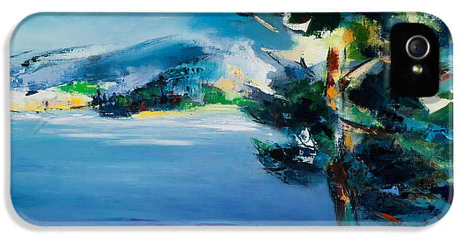 Landscape Nature IPhone 5 Case featuring the painting By The Lake by Elise Palmigiani