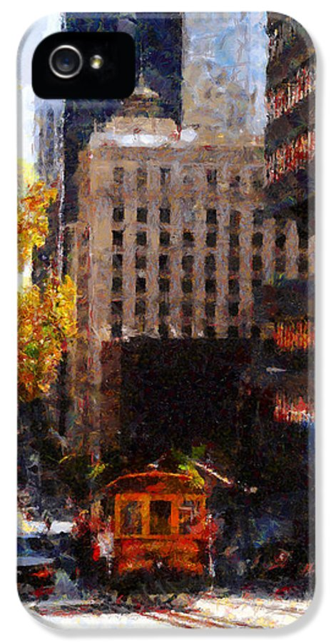 San Francisco IPhone 5 / 5s Case featuring the photograph Cablecar On San Francisco California Street . Painterly . 7d7176 by Wingsdomain Art and Photography