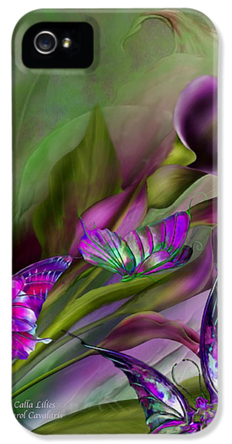 Calla Lilies IPhone 5 Case featuring the mixed media Calla Lilies by Carol Cavalaris