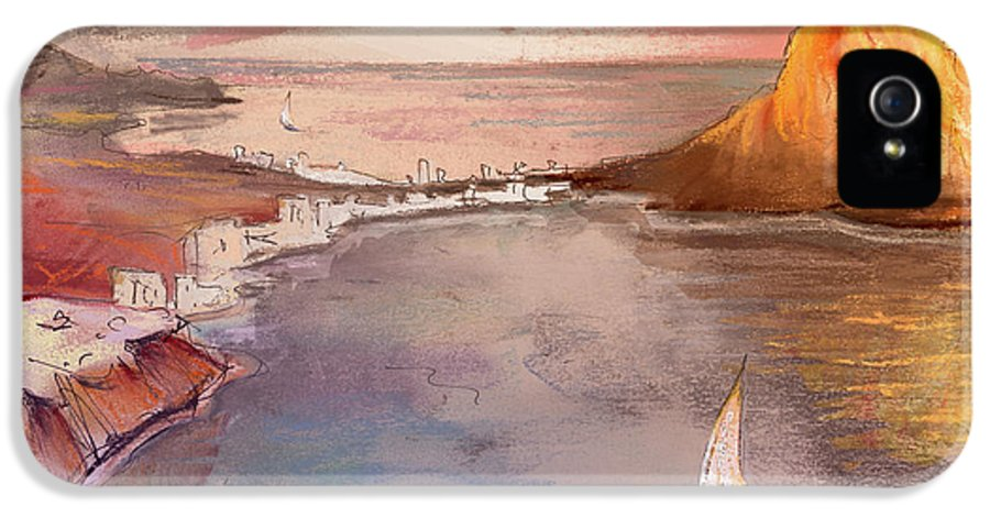 Spain IPhone 5 Case featuring the painting Calpe At Sunset by Miki De Goodaboom
