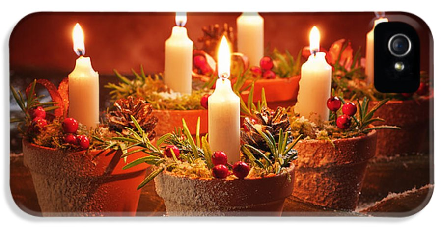 Christmas IPhone 5 Case featuring the photograph Candles In Terracotta Pots by Amanda Elwell