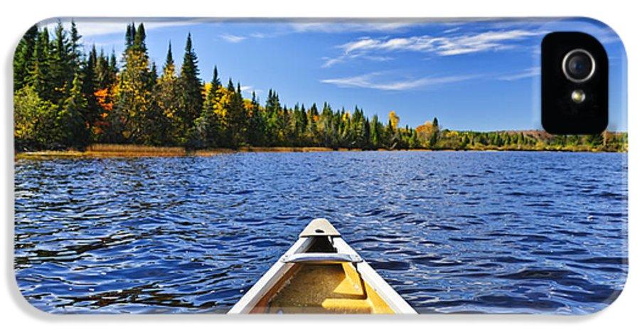 Canoe IPhone 5 Case featuring the photograph Canoe Bow On Lake by Elena Elisseeva
