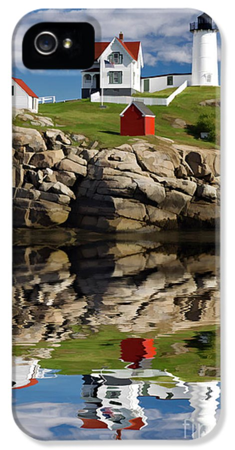 Painting IPhone 5 Case featuring the photograph Cape Neddick Reflection - D003756a by Daniel Dempster